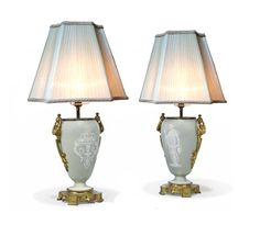 A pair of Antique French Gilt Metal Mounted Celadon Ground Pate Sur Pate Table Lamps Table Lamps, French Antiques, Antique Furniture, Glass Vase, Art Deco, Lighting, Gallery, Metal, Home Decor