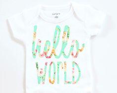 Hello World onesie Baby girl clothes Floral by BellesandBeausInc