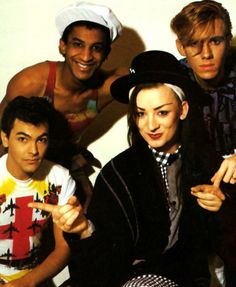 Culture Club are an English pop band that were formed in The band comprised Boy George (lead vocals), Mikey Craig (bass guitar), Roy Hay (guitar and keyboards) and Jon Moss (drums and percussion). Pop Bands, Boy George, 80s Music, Music, History Boys, My Favorite Music, Singer, Modern Music, George