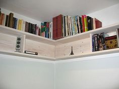 Types of Bookshelves: DIY Corner Wall Bookshelves – Home Improvement | Kitchen Ideas | Bathroom Remodeling | Bedroom Designs Diy Projects Bookshelves, Creative Bookshelves, Decorating Bookshelves, Bookshelf Design, Bookshelf Ideas, Shelving Ideas, Storage Ideas, Wall Mounted Bookshelves, Corner Bookshelves