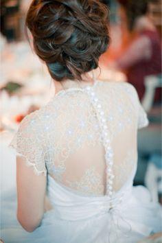 Blue wedding dress with a button up back | Anastasiya Belik Photography | http://burnettsboards.com/2013/12/powder-blue-white-wedding/