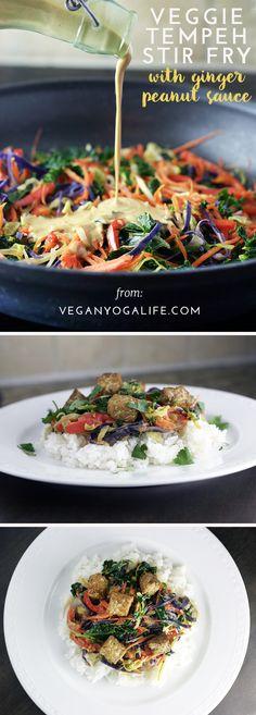 Vegan Tempeh Stir Fry with Ginger Peanut Sauce Recipe | Get more delicious vegan recipes, tips + inspiration --->Vegan Yoga Life
