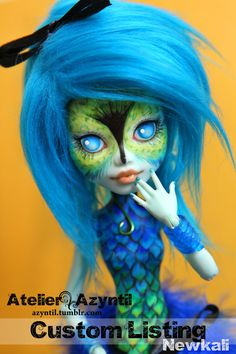 OOAK Custom Monster High Repaint - Hummingbird Special Order by Azyntil and Nharie for Newkali Custom Monster High Dolls, Monster Dolls, Monster High Repaint, Custom Dolls, Pretty Dolls, Beautiful Dolls, Ever After Dolls, Living Dead Dolls, Unique Toys