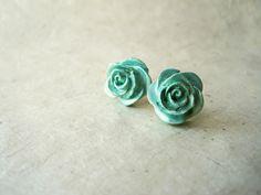 Mint Rose Earrings by PiggleAndPop, $10.00 #ROSE #MINT #HANDMADE #PIGGLEANDPOP #EARRINGS #BRIDESMAIDS