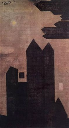 Endre Balint — Houses at Hastings, Other: mixed media. Famous Words, Art Database, Art Blog, Archaeology, Civilization, Culture, Houses, Dark, Expressionism