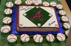 Atlanta Braves - Cake and cupcakes iced in BC, cake has some fondant accents.