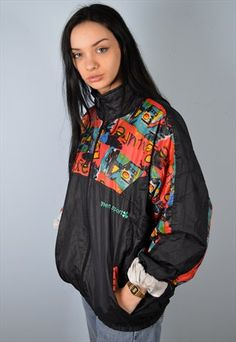 WOMENS VINTAGE SHELL TRACKSUIT TOP JACKET SIZE 20 MULTI 90'S