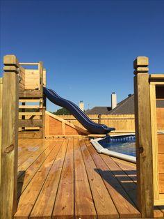 Pool deck slide Above Ground Pool Slide, Above Ground Pool Landscaping, Backyard Pool Landscaping, Backyard Pool Designs, Above Ground Swimming Pools, In Ground Pools, Swimming Pool Slides, Swimming Pools Backyard, Decks Around Pools