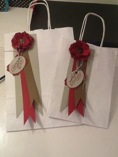 Had great fun decorating these plain gift bags with stampin ups blossom punch using cherry cobbler, soft suede and Sahara sand colours. Maria Banting, UK stampin up demonstrator.