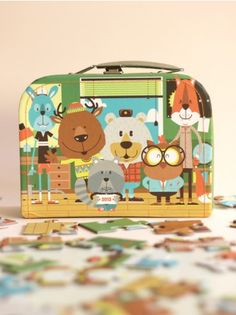 Puzzle and Cardboard Suitcase, Wood Campers