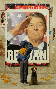 A real President, Ronald Reagan being saluted by a young boy in a charming illustration of what it was like to have President Reagan in office for 8 glorious years. Remember this when you vote Nov. Greatest Presidents, American Presidents, I Love America, God Bless America, Norman Rockwell, American Pride, American History, American Flag, American Freedom