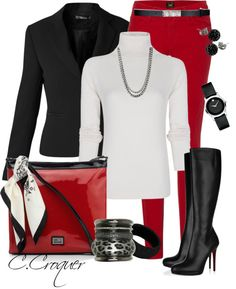 """""""Chic Red & Black! J"""" by ccroquer on Polyvore"""