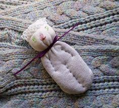 Lavender Filled Sachet Handmade Sock Doll White Cat With Green Eyes #Pedricks