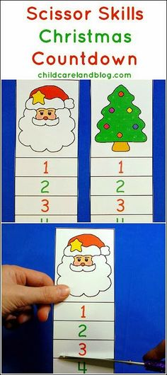 Scissor Skills Christmas Countdown - pinned by @PediaStaff – Please Visit ht.ly/63sNtfor all our pediatric therapy pins