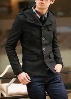 Men's Black Slim Fit Hooded Button Up Coat