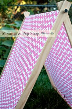 A-Frame Play Tent For Kids with Pink Chevron Cover // Handmade at Momista & Pop Shop on Etsy