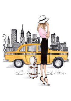 New York drucken New York Kunst Mode Illustration New York Wandkunst Mode Wandkunst New York Poster NYC Kunst Aquarell Mode Fashionista
