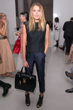 The Takeaway: Black and navy is a stylish combination, especially with subtle pinstripes.   - HarpersBAZAAR.com