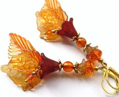 AUTUMN ENVY- Long Lucite Leaf Earrings with Swarovski Crystals, Orange Preciosa Czech Glass Druk- Gold Plated Leverback Ear wires
