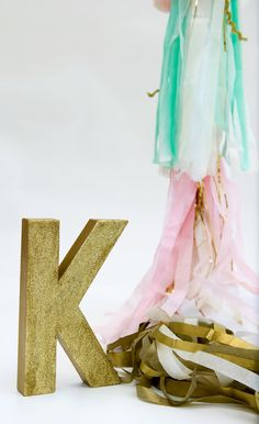 Gold Glitter Letter or Number Hand Painted, #glamnursery #brattdecor