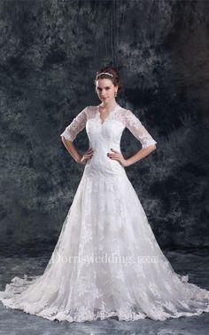 #Valentines #AdoreWe #Dorris Wedding - #Dorris Wedding Adorable Satin Appliqued a Line V Neck Half Short Sleeve Wedding Dresses - AdoreWe.com