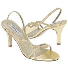 Touch Ups gold heels available at Angelique's Bridal.