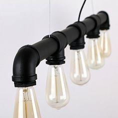UNITARY BRAND Vintage Metal Water Pipe Pendant Light Max 200W With 5 Lights Black Finish - - Amazon.com