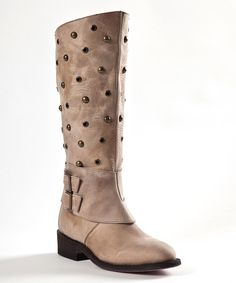Look at this Johnny Ringo Boots Tan Studded Leather Western Boot on #zulily today!