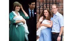 Diana and Charles present William on the day after his birth in 1982; Kate and William with Prince George on the day after his birth, 2013.   - ELLE.com