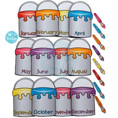 Display your class birthdays using our new paint pots display.Each paint tin has a different month along the bottom.The paintbrushes are coloured to match each month and are editable so you can add yo