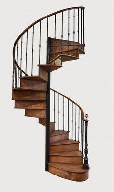Escalier Colimaçon Fer Et Bois De Chêne, Escaliers Lachaux, Proantic