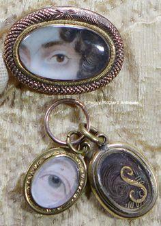Portraits - Antique Portrait Miniature Pendant Pair, Lover's (Georgian) Eye - Peggy McClard Antiques - Americana & Folk Art