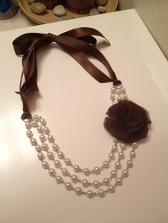 """Brown Flower Ribbon Necklace. Got the idea for this necklace off one on my """"beading idea's"""" board"""