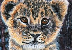 ACEO Original Art Animal Lion Cub Cute Portrait Realism Illustration - SMcNeill #Realism