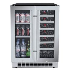 Titan 24 inch 60 Cans and 21 Bottles Built-in Dual Zone Wine Cooler and Beverage Cooler, Roller Glide Wooden Shelves, Memory Temp Function, Door-Left-Open Alarm&High Temp Alarm Built In Beverage Cooler, Beverage Center, Beverage Refrigerator, Wine Fridge, Drinks Fridge, Wooden Shelves, Glass Shelves, Wine Shelves, Large Wine Bottle