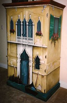 Hand Painted Venetian Canals Armoire, hand painted furniture, Armoire