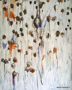 Myriam Hazelzet. Arise. Monumentaal schilderij op doek in grote witte verticale streken, met menselijke figuren van alle huidskleuren in opgaande lijn.