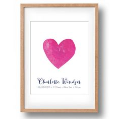 Custom Birth Announcement Watercolour Heart by poppylovestogroove