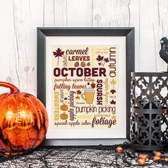 Fall Home Decor, Word Prints, Fall Print, Autumn Wall Art, October Prints, Autumn Decor, Fall Word Prints, Typography Print, Typography Art on Etsy, $5.00