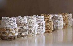 frascos decorados al crochet