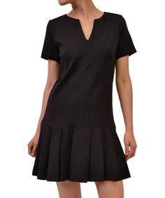 Love this Black Pleated Drop-Waist Dress on #zulily! #zulilyfinds