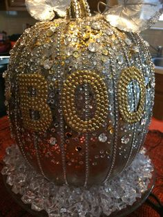 If you love bling, this Halloween Pumpkin is perfect for you! My friend Sandra calls herself the Queen of Halloween and this pumpkin is her beautiful creation! Thanksgiving Wreaths, 31 Days Of Halloween, Costume Accessories, Halloween Pumpkins, Christmas Bulbs, Bling, Decorations, Entertaining, Queen