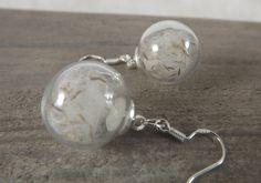 Boucles d'oreilles globes en verre, bulles graines de fleurs de pissenlit, crochets en argent : Boucles d'oreille par long-nathalie