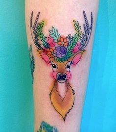 Adorable red-cheeked stag tattoo by Briana Sargent
