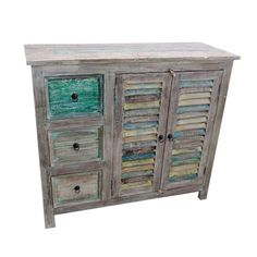 Come shop our cabinets at Mix Furniture! Old shutters make for an interesting side cabinet. used for storage or to display items