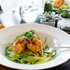 Spicy Shrimp with Zucchini Noodles :: Use the season