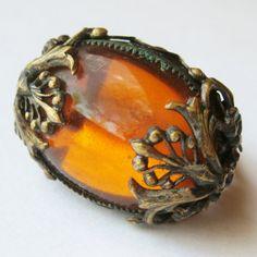 Vintage 20s 30s Art Deco Czech Topaz Gold Filigree Glass Cabochon Cocktail Ring
