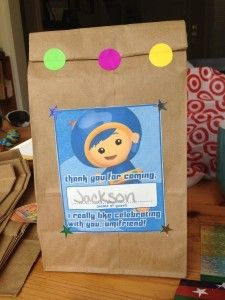 paper bag favors for Umizoomi party