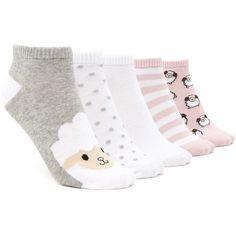 Forever21 Ram Print Ankle Socks - 5 Pack (7.96 CAD) ❤ liked on Polyvore featuring intimates, hosiery, socks, ankle socks, polka dot hosiery, patterned ankle socks, short socks and dot socks