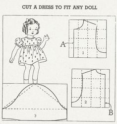 Doll Dress, Slip & Panties Patterns These patterns for a doll dress, slip and panties are from the same vintage World War II pattern books t...